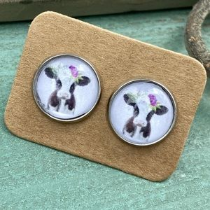 WHISKEY KISS Floral Cow Cabochon Stud Earrings
